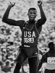 In this Aug. 11, 1984, file photo, U.S. athlete Carl