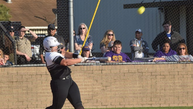 Alexandria Senior High's Briahna Bennett (3) swings for the fences against Central High School of Baton Rouge Friday, April 20, 2018. Bennett leads the way on the 2018 All-Cenla Softball Team as the MVP.