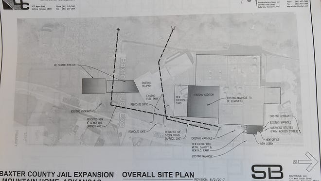 An architectural rendering of the proposed Baxter County jail expansion.