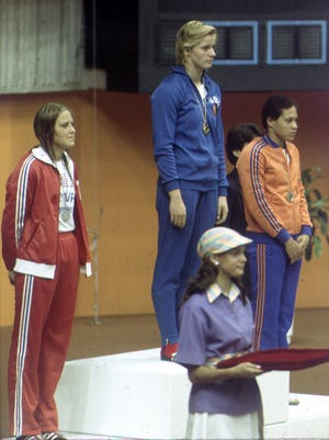 Shirley Babashoff, left, was not happy finishing second to East German Kornelia Ender in the 1976 Olympics.