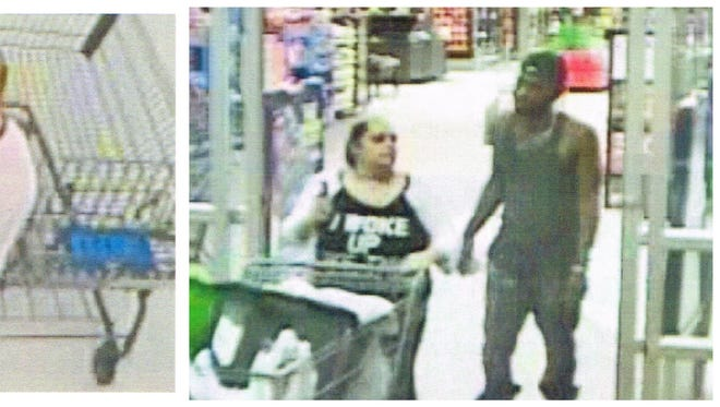 Crowley police are searching for two people suspected of making fraudulent purchases at a Wal-Mart in August.
