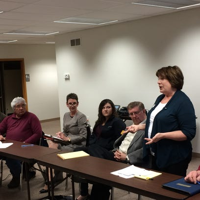 Democratic candidates for Johnson County supervisor, from left, Patricia Heiden, Rod Sullivan, Jason Lewis and Kurt Friese, spoke at an agriculture forum on Monday night.