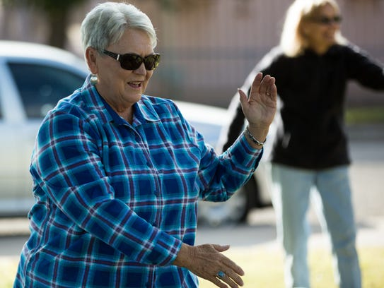 Patti Wiles, one of the six tai chi students attending