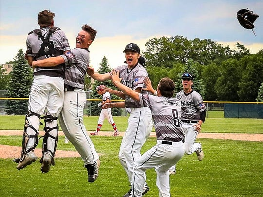 Plymouth players jump for joy after winning their fourth