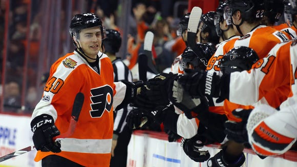 Jordan Weal had 12 points in 23 games for the Flyers last season.