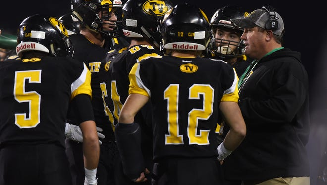 Tri-Valley Head Coach Justin Buttermore talks to his team during the Division III state finals. Buttermore will coached the Division I-III South squad in the 73rd annual North-South Classic in April.