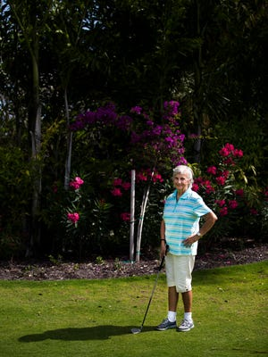 Shirley Harmann, 87, poses for a portrait on Wednesday, April 19, 2017 at Vi at Bentley Village in North Naples. Harmann plays golf every week and is chairperson of the Nine-Hole Club at her senior community.