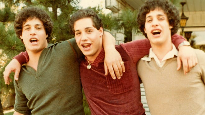 "Triplets Eddy Galland (from left), David Kellman and Bobby Shafran are at the center of the documentary ""Three Identical Strangers."""