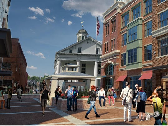 The revised plan for the Courthouse Square project still includes a pedestrian plaza.