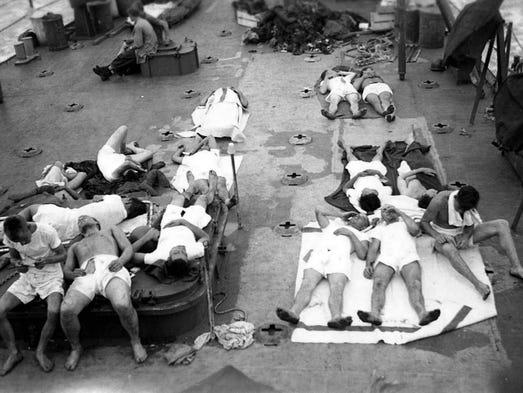 USS Indianapolis survivors aboard the USS Bassett.