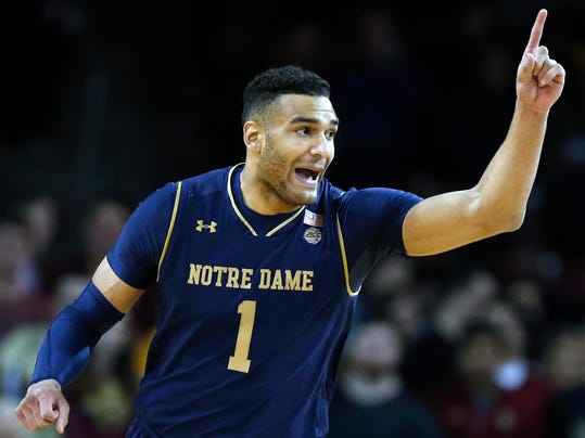 Notre Dame's Austin Torres reacts after scoring during the first half of an NCAA college basketball game against Boston College in Boston, Saturday, Feb. 17, 2018. (AP Photo/Michael Dwyer)