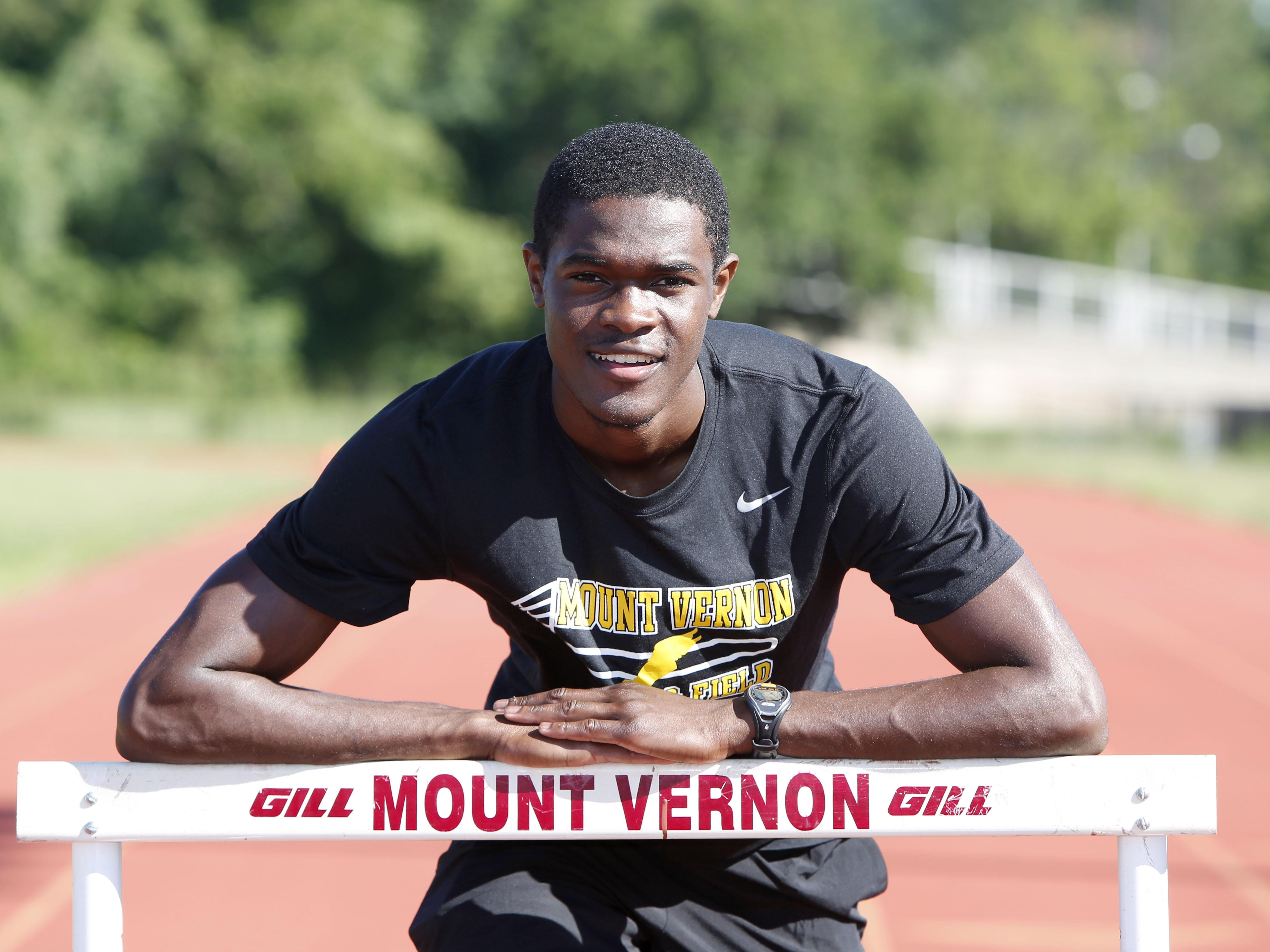 Mount Vernon High School's Rai Benjamin, the Westchester/Putnam boys track athlete of the spring, is photographed June 24, 2015 at the high school's track.