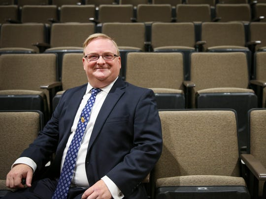 Stephens Performing Arts Center executive director Mark Levine sits in the Brooks & Bates Theatre, one of two performance spaces in the new complex.