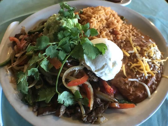 The beef fajita platter at Oak's Diner & Flapjacks