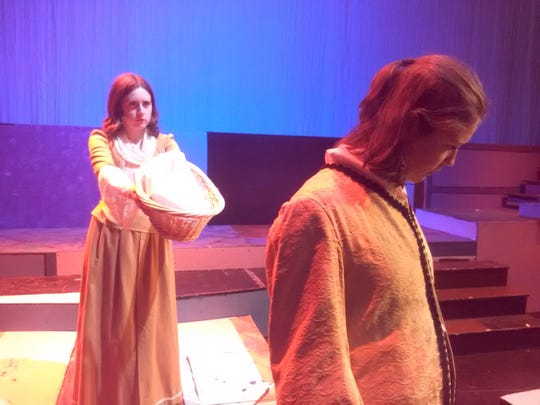 "Callie Bandy (Paulina) and Maeve Edwards (Leontes) in Lee High Drama's ""The Winter's Tale."""