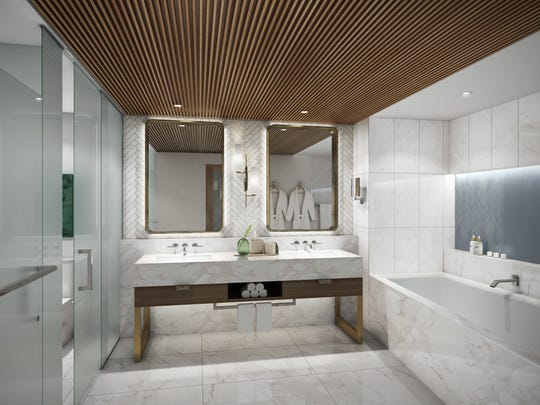 An artist's rendering of the hotel suite bathroom at