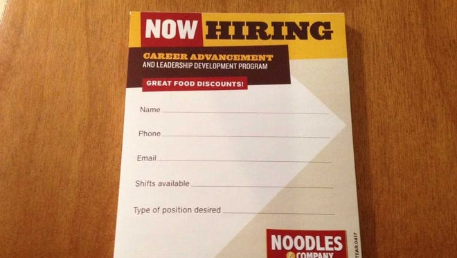 The informal application at Noodles & Co. is the size of a postcard and has only five questions