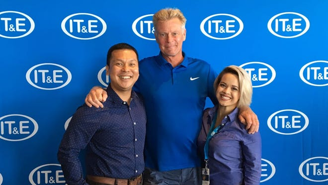 From left, IT&E,s Danny Daniel, senior manager of brand & public relations, Jim Oehlerking, chief executive officer; and Angela Rosario, director of marketing and product development at the company's press conference April 25.