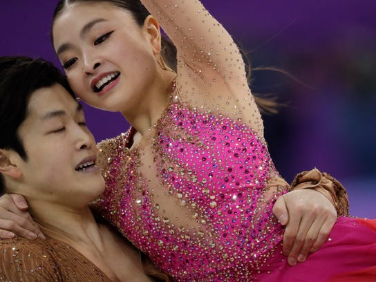 Maia Shibutani and Alex Shibutani of the United States perform during the ice dance, short dance figure skating in the Gangneung Ice Arena at the 2018 Winter Olympics in Gangneung, South Korea, Monday, Feb. 19, 2018. (AP Photo/Bernat Armangue)