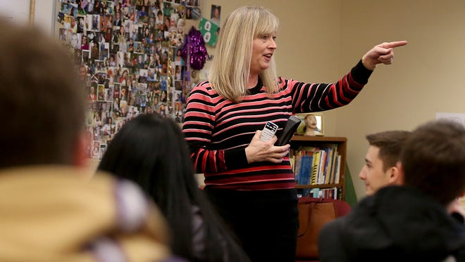 Catherine Campbell gives instructions to her class at North Kitsap High School.