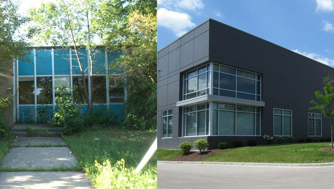 A view of 4915 W. Burnham St. in West Milwaukee before (left) and after construction of the 83,400-square-foot Burnham Business Center. Prior to redevelopment, the area contained an old salvage yard and a vacant building. The village contributed approximately $1.5 million for the project and received a $150,000 grant through creation of an Environmental Remediation Tax Incremental District in 2016. As of January 2018, the parcel is valued at $6.6 million, an increase of $5.8 million over the base value, according to the village. Borrowing funds for TID projects such as these has contributed to the village's debt load.