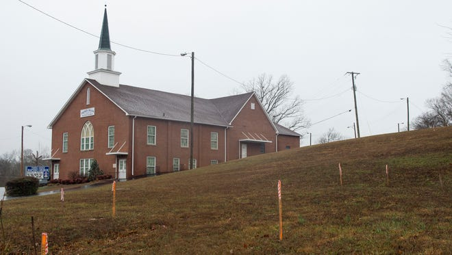 The Knoxville City Council approved a $45,000 sale of this strip of land belonging to Third Creek Baptist Church, pictured in background. The land will be used to build a pedestrian bridge over Western Avenue, connecting a future greenway to Victor Ashe Park.