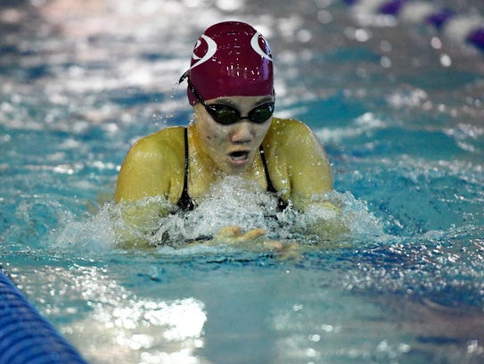 Ridgewood's Irene Keh swims breaststroke in the 200-yard