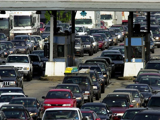 Westchester bound traffic clogs the toll plaza at the