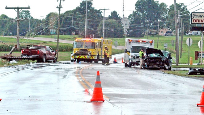 Two vehicles were involved in a crash at the intersection of U.S. Route 250 and Oil City Road in Wooster Township, in front of Guerne Heights Drive-In at around 5 p.m. on Monday.