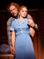 "In the national tour of ""Waitress"" that recently played the Aronoff Center, Desi Oakley (front) played the wife of an abusive husband (Nick Bailey)."