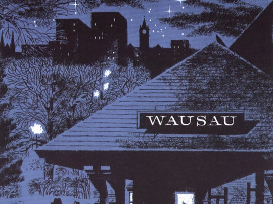 "This image featuring the Wausau depot first appeared in the Saturday Evening Post in 1954 opposite the Post editorial page. Accompanying the illustration was the question ""How come one of the world's most important insurance companies is located in Wausau, Wisconsin?"""