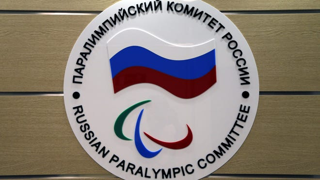 The logo of the Russian Paralympic Committee is attached to a wall at the office of Russian Paralympic Committee in Moscow, Russia 08 August 2016.