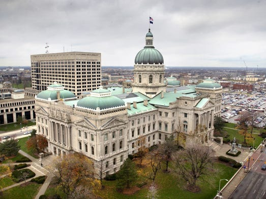 A photo of the Indiana Statehouse in Indianapolis.