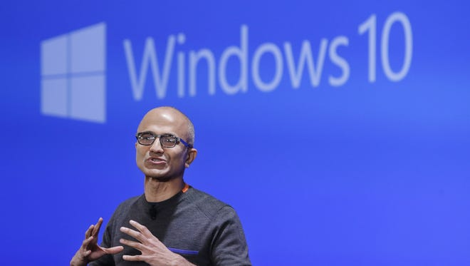 Microsoft CEO Satya Nadella speaks at an event demonstrating the new features of Windows 10 at the company's headquarters.