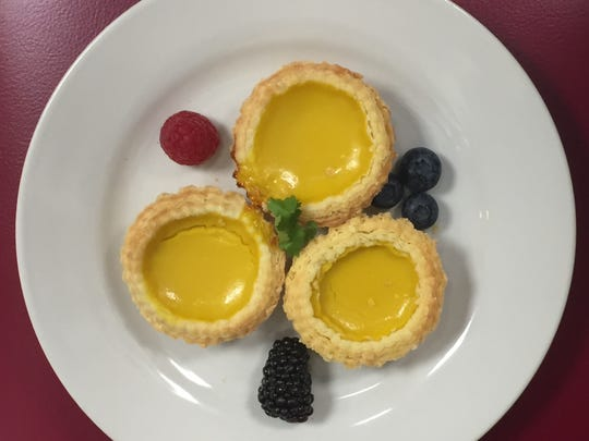 Dan ta, the Chinese egg tarts that are a dim sum mainstay, close the Shafer wine dinner on July 15, 2018, at Kwok's Bistro in downtown Reno.