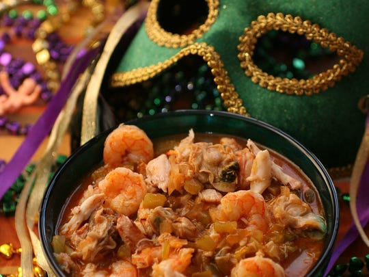 Shown is a Mardi Gras dish -- hearty seafood gumbo.