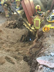 A construction worker was rescued from a collapsed