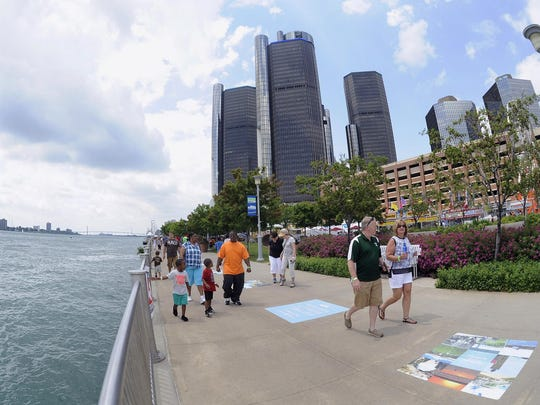 The Detroit River and riverwalk