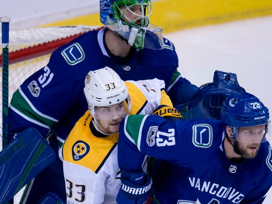Vancouver Canucks defenceman Alexander Edler (23) tries to clear Nashville Predators left wing Viktor Arvidsson (33) from in front of Vancouver Canucks goalie Anders Nilsson (31) during the second period of an NHL hockey game in Vancouver, Wednesday, Dec. 13, 2017.  (Jonathan Hayward/The Canadian Press via AP)