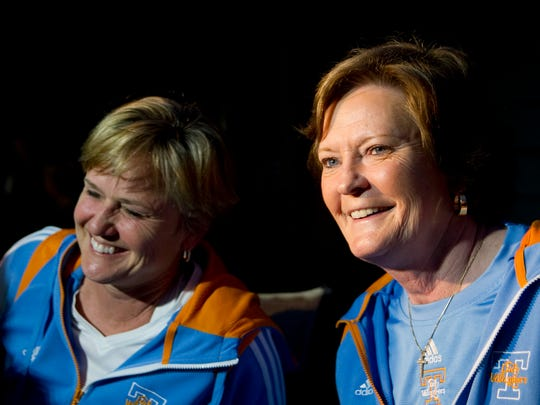 Tennessee head coach Pat Summitt and associate head coach Holly Warlick smile while being interviewed at Summitt's home on Monday, March 12, 2012 regarding their teams no. 2 seeding in the Des Moines regional of the NCAA tournament.