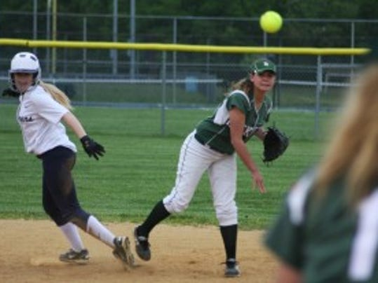 Raritan shortstop Daniella Marino attempts a double play.
