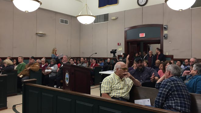 Residents pack Beacon City Court during a City Council meeting Monday night. The council adopted a resolution declaring the city welcoming and inclusive.