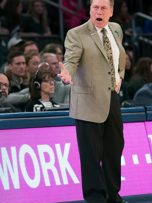 Michigan State head coach Tom Izzo reacts during the first half of an NCAA college basketball game against Wisconsin in the quarterfinals of the Big Ten conference tournament, Friday, March 2, 2018, at Madison Square Garden in New York. (AP Photo/Mary Altaffer)