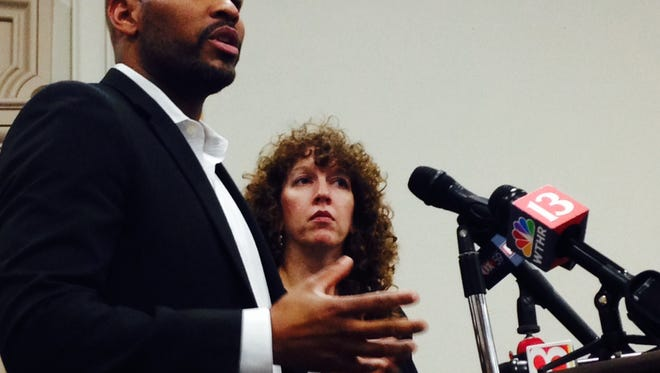 Jerome Adams speaks at New Castle on the lack of a brain cancer cluster.