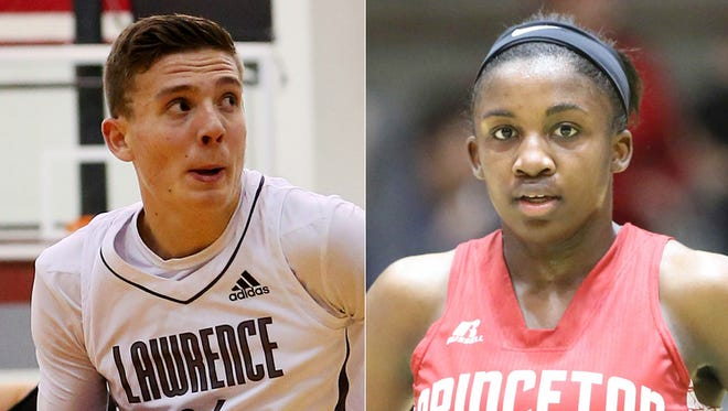 Kyle Guy of Lawrence Central (left); Jackie Young of Princeton.