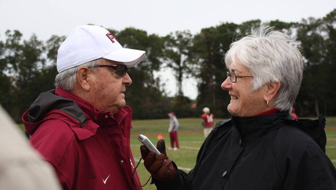 Kerry Dunning, seen here interviewing Bobby Bowden, has been covering FSU football games since 1980.