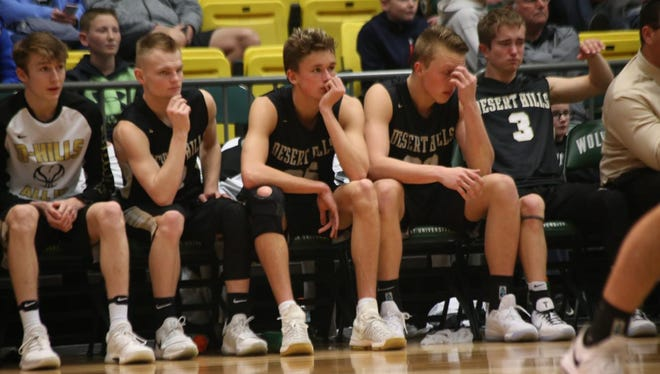The Desert Hills bench reacts during Orem's 71-56 win over the Thunder.