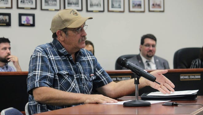 Otero County Road Superintendent Tom Porter discusses the Timberon Airfield runway issues at the latest Otero County Commission meeting Thursday.