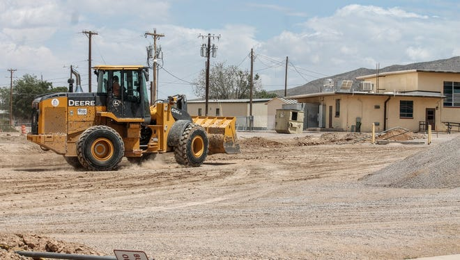 Heavy dirt construction began at Heights Elementary playground on Monday.