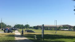 The scene outside Noblesville West Middle School as